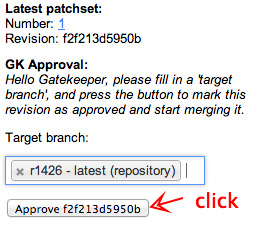approve revision from codereview by the gatekeeper, target branch autocompletion